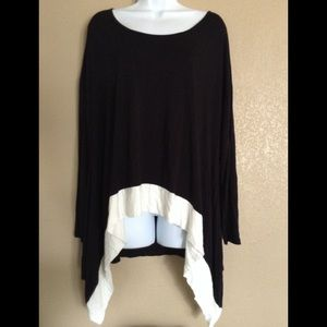 Kenzie Black High Low Mid Sleeve Top Size XL